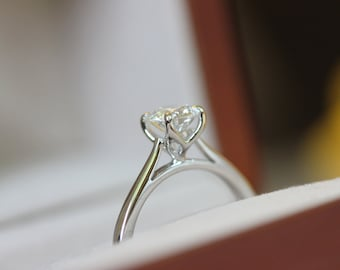 6mm round Moissanite Tulip Solitaire ring, white gold engagement ring,
