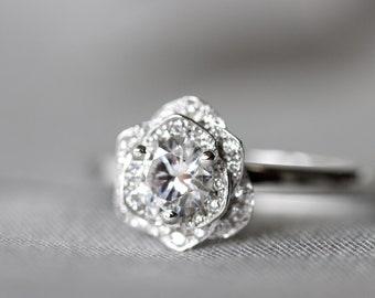 Floral engagement ring, Roses, white gold flower, moissanite engagement ring,