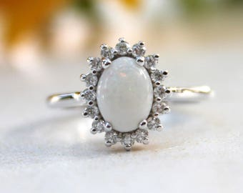 Opal engagement ring, vintage inspired diamond halo, white gold opal ring, October Birthstone