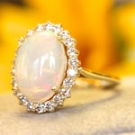 Opal engagement ring, vintage inspired diamond halo, cocktail ring, statement piece, October Birthstone