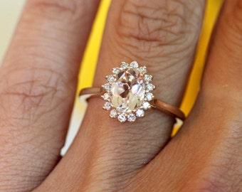 Rose Gold Morganite Ring, vintage engagement ring, yellow gold ring, engagement ring gold, floral halo design,