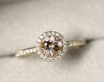 Round Morganite Halo Engagement Ring, 14K Rose Gold, pink stone ring, round 6mm peach gemstone