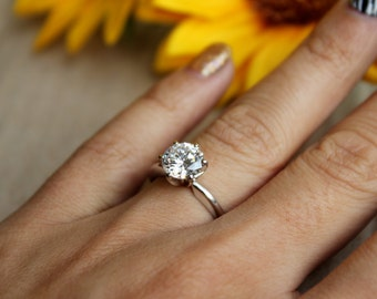 8MM, 6 prong White gold solitaire, engagement ring for proposal, pop the question, F1 moissanite solitaire, 14K setting