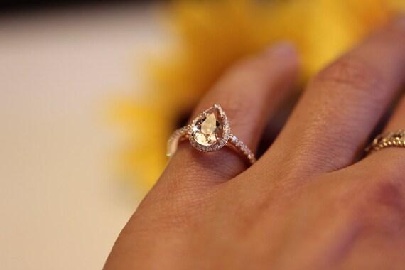Birnenformig Morganit Halo Verlobungsring Rose Gold Etsy