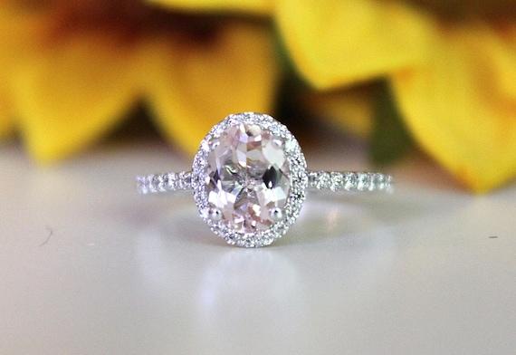 Morganit Verlobungsring Rosa Morganit Ring In Weissgold Etsy