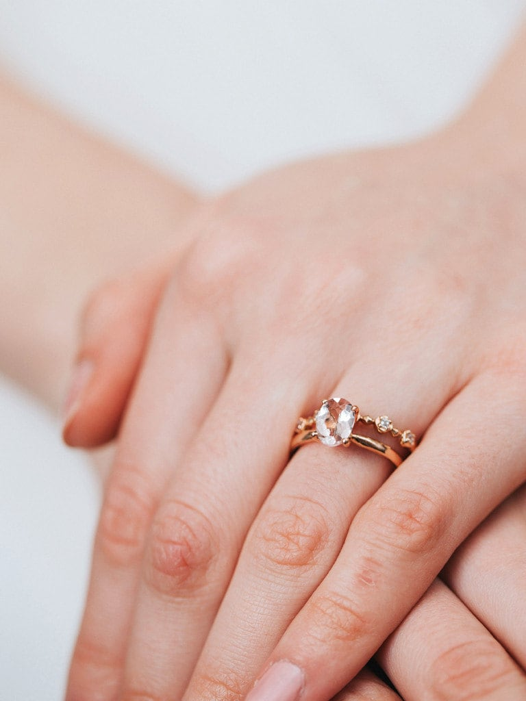 Oval Morganite Solitaire Engagement Ring 14K Rose Gold | Etsy