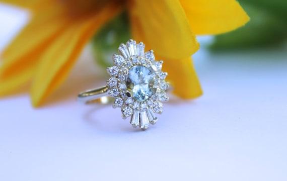 Art Deco halo engagement ring, Double halo ring, aquamarine ring, oval blue stone