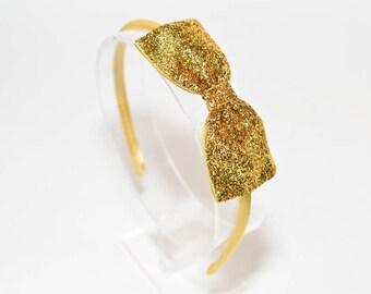 9c77c28a5f3b Gold Glitter Bow Headband. Gold Bow Headband. Girls Hair Accessories. Adult  Hair Accessories. Sparkle Headband. Glitter Bow. Gold Headband