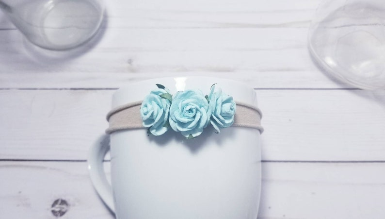 Halo Newborn Baby Flower Crown Headband Baby Flower Headband Light Blue Baby Headband Baby Headband Flower Simple Newborn Headband