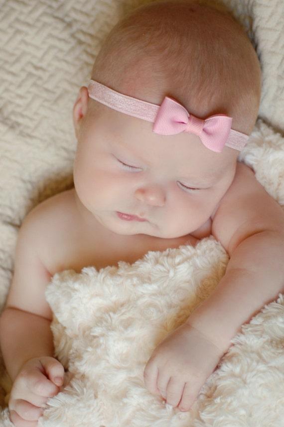 PINK Bow Headband. Small Light Pink Hair Bow Headband. Baby  5264b2a455c