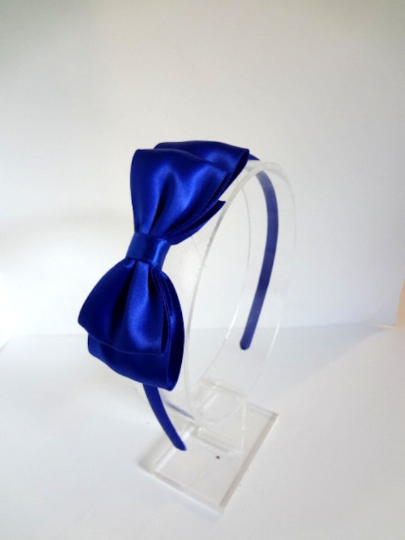 Royal Blue Satin Bow Headband Blue Bow Headband Royal Bow  f4b57bbc4aa