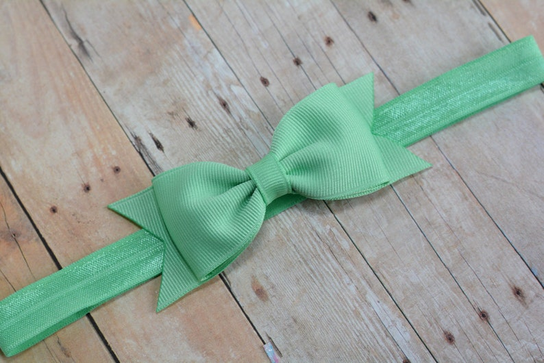 Mint Baby Headband Mint Girls Hair Bow Mint Bow Headband Baby Hair Accessories Mint Green Bow Headband Baby Girls Hair Accessories