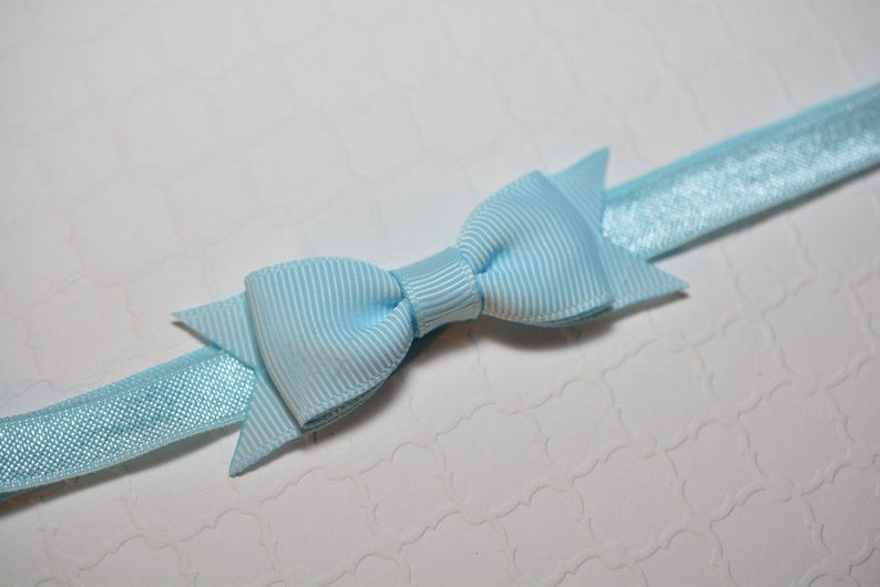 Light Blue Bow Headband  Small Baby Bow Headband  Easter Headband  Baby Shower Gift  Aqua Baby Headband  Baby Girls Hair Accesories