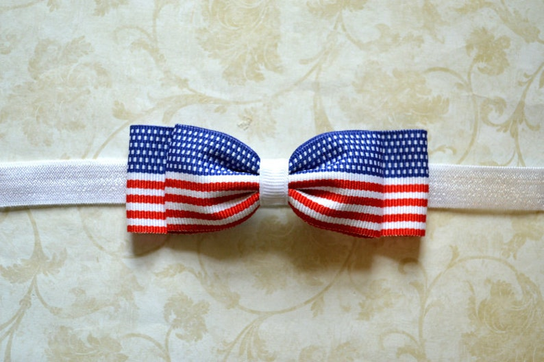 Red White /& Blue Flag Print Bow Headband Baby Girls Hair Accessories Fourth of July Baby Headband American Flag Baby Hair Accessories