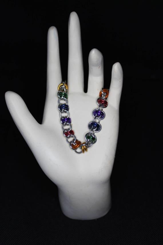 Rainbow Barrel Weave Bracelet