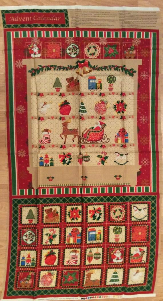 A christmas holiday seasons greetings advent calendar fabric etsy image 0 m4hsunfo