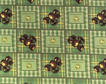 A Wonderful John Deere Tractors On The Farm Blocks Cotton Fabric By The Yard Free US shipping
