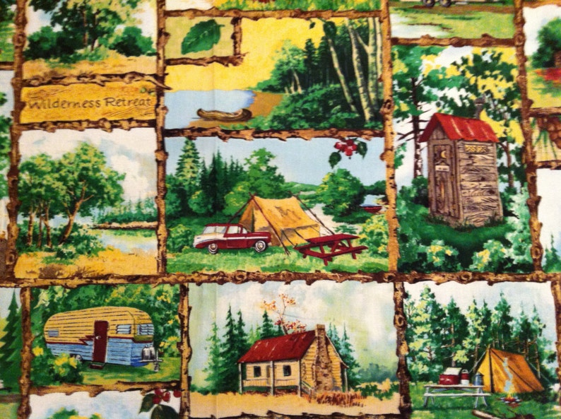 A Beautiful Home Away From Home Camping Sampler Blocks Fabric Panel Free US Shipping