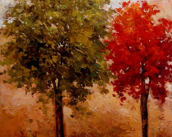 HUGE 30x40 Original oil on canvas. Green and Red trees