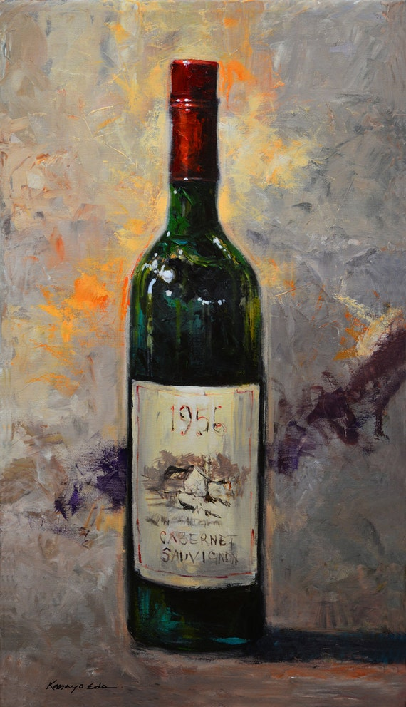 Original Acrylic Painting Wine Art On Canvas Etsy