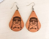 Wooden Willie Nelson Earrings, Willie Nelson Gift, Classic Country Gift, Country Music Gift, Nashville Earrings, Southern Earrings