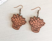 Wooden Plant Mama Earrings
