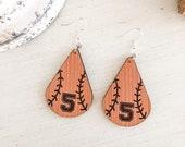 Custom Softball Baseball Wooden Earrings, Softball Mom Gift, Baseball Mom Gift, Softball Number Earrings, Baseball Number Earrings