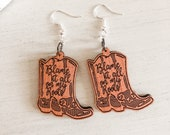 Wooden Blame It All On My Roots Earrings, Garth Brooks Earrings, Country Music Earrings, 90s Country, Cowboy Boot Earrings, Cowgirl Gift