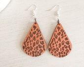 Wooden Leopard Print Earrings, Leopard Print Gift Idea, Cheetah Print Earrings