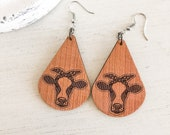 Wooden Heifer Cow Earrings, Cow Gift, Southern Earrings, Cow Lady, Western Earrings, Southern Cow, Show Cow, Moo Cow