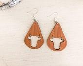 Wooden Cow Earrings, FFA Week Earrings, Show Cow Earrings, FFA Gift, Southern Earrings, Cow Gift Idea, Farm Animal Earrings, Animal Jewelry