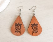 Wooden Country Chicken Earrings