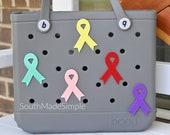 Awareness Ribbon Bogg Bag Buttons, Bogg Bag Charms, 3D Printed Bogg Buttons, Beach Bag Charms, Pool Bag Charms, Bogg Bag Accessories