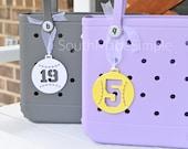 Baseball Softball Number 3D Printed Bag Tag for Bogg Bags, Water Resistant Bag Tag, Plastic Bogg Bag Tag, Softball Bag Tag, Baseball Bag Tag