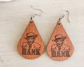 Wooden Hank Williams Earrings, Hank Williams Sr., Southern Earrings, Country Music Earrings, Nashville Earrings, Country Music Gift