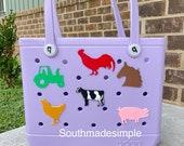 Farm Animal Themed Bogg Bag Tags, 3D Printed Water Resistant Bogg Bag Charms, Bogg Bag Accessories, Simply Southern Bag Charm, Bogg Bag Tags