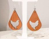Wooden Chicken Earrings, FFA Week Gift, Chicken Lady Gift, FFA Chickens, Crazy Chicken Lady Earrings