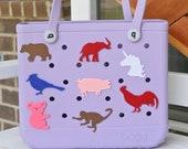 Animal Themed Bogg Bag Tags, 3D Printed Water Resistant Bogg Bag Charms, Bogg Bag Accessories, Pool Bag Buttons, Bogg Bag Tags