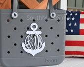 Large Water Resistant 3D Printed 7 inch Anchor Monogram Bogg Bag Tag, Monogram Bag Tag, Beach Bag Tag, Plastic Bogg Bag Tag, Custom Bag Tag