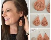 Wooden Monogram Earrings, Personalized Earrings, Monogram Gift