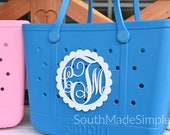 Large Water Resistant 3D Printed 7 inch Monogram Bogg Bag Tag, Monogram Bag Tag, Beach Bag Tag, Plastic Bogg Bag Tag, Custom Bag Tag