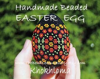 Handmade Beaded Easter Egg - Khokhloma