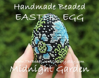 Handmade Beaded Easter Egg - Midnight Garden