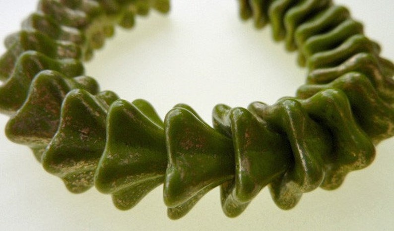 50 Czech Glass Trumpet Flower Beads in Opaque Olive with Gold Flecks  8x13mm