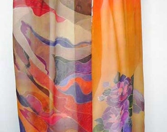 Large Silk Scarf Wrap, Orange Brown Purple, Hand painted, Batik, Chiffon, Birthday gift, Gift Wife Girlfriend Mom,Women Fashion Scarf,Floral