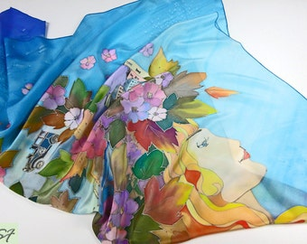 """Blue Yellow Silk scarf square """"Women Dreams"""", Hand Painted, Flower scarf, Face scarf, Gift Wife or Girlfriend, Birthday Gift, Wearable art"""