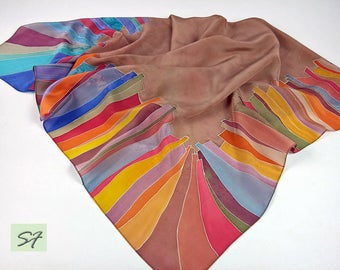 Brown Red Blue Silk scarf square Hand Painted, Abstract Scarf, Handpainted Silk, Gift Wife Mom Girlfriend, Batik, Unique Women Scarves