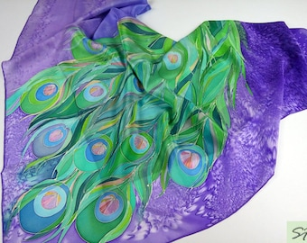 Purple Green Lavender Silk scarf square Hand Painted, Peacock Feather, Unique women birthday gift, Wearable art, Her Mom gifts