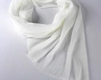 White Chiffon Scarf, Crinkled Silk, Spring scarf, Wrap, Soft Pleated, Ruffled Long Luxury Silk Scarf, Gift Wife Mom Girlfriend, Gift Her