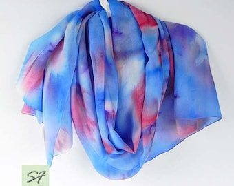 Blue Pink Silk Scarf Hand Painted, Chiffon Scarf, Spring scarf, Abstract Scarf, Women Gift Birthday, Gift Her Wife Girlfriend Mom